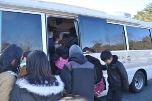 初めての学び舎バスに興奮!