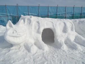 宮里仮設住宅の皆さんが作った雪像