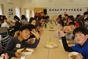 子ども達が配膳をして、みんなで手作りカレーをいただきました!